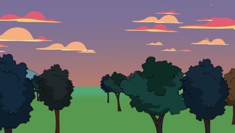 Cartoon-animation-background-with-forest-and-mountain