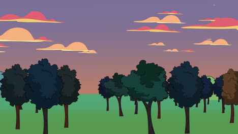 Cartoon-animation-background-with-forest-and-mountain-1