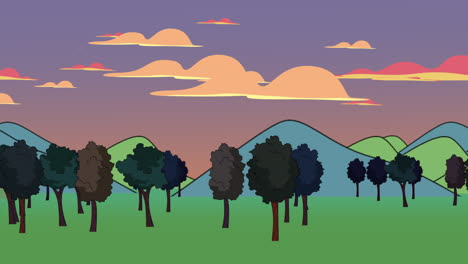 Cartoon-animation-background-with-forest-and-mountain-2