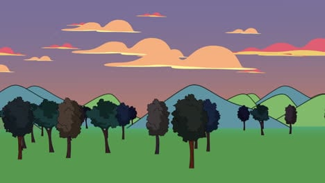 Cartoon-animation-background-with-forest-and-mountain-3