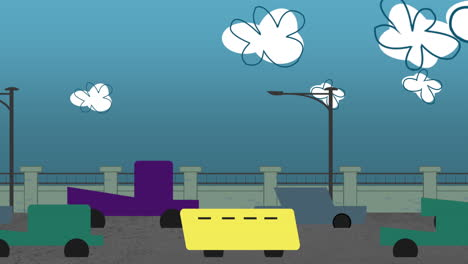 Cartoon-animation-background-with-motion-clouds-and-cars-on-road