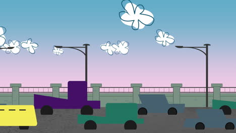 Cartoon-animation-background-with-motion-clouds-and-cars-on-road-1