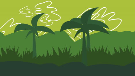 Cartoon-animation-background-with-palms-in-mountain-1