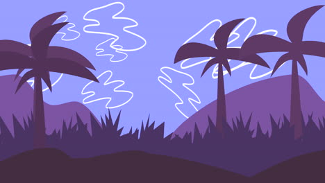 Cartoon-animation-background-with-palms-in-mountain-2