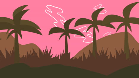 Cartoon-animation-background-with-palms-in-mountain-3