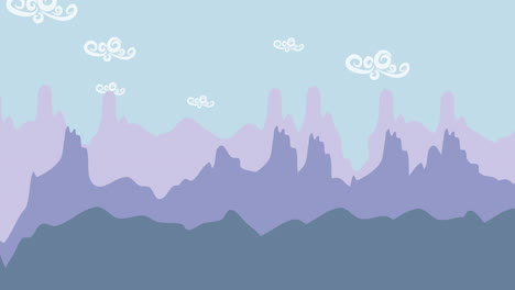 Cartoon-animation-background-with-mountain-and-clouds-1