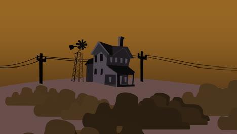 Cartoon-animation-background-with-house-on-farm