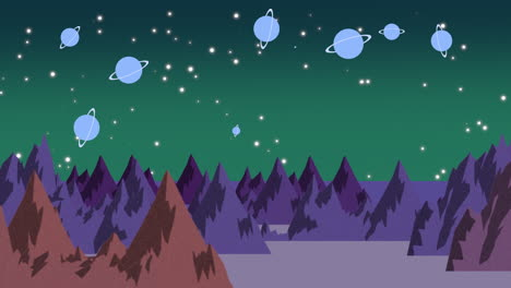 Cartoon-animation-background-with-planets-and-mountains-in-space