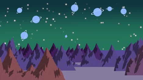 Fondo-De-Animación-De-Dibujos-Animados-Con-Planetas-Y-Montañas-En-El-Espacio.