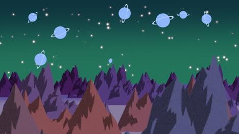Fondo-De-Animación-De-Dibujos-Animados-Con-Planetas-Y-Montañas-En-El-Espacio-1
