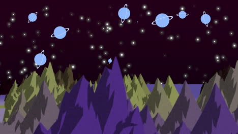 Cartoon-animation-background-with-planets-and-mountains-in-space-2