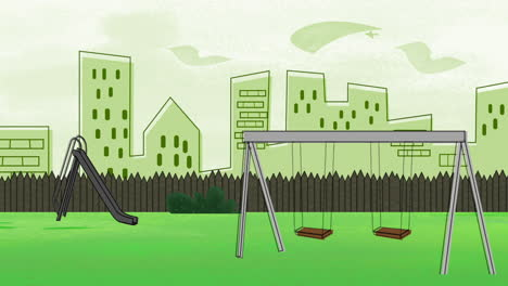 Cartoon-animation-background-with-buildings-and-park-of-city