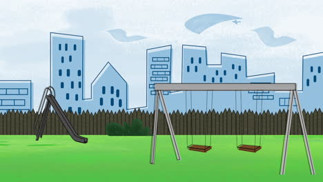 Cartoon-animation-background-with-buildings-and-park-of-city-1
