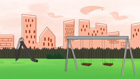 Cartoon-animation-background-with-buildings-and-park-of-city-2