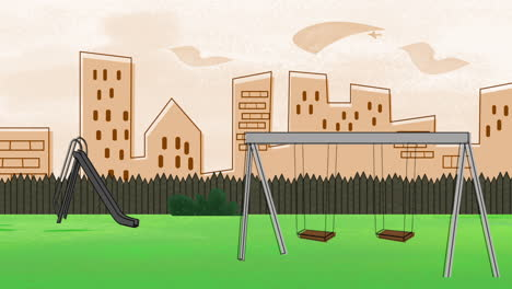 Cartoon-animation-background-with-buildings-and-park-of-city-3