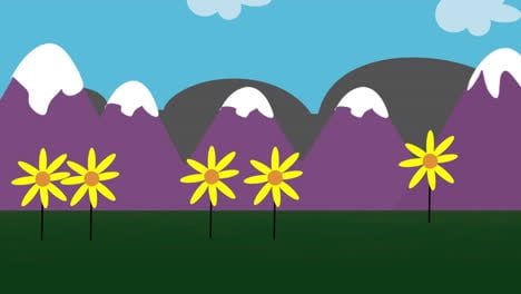 Cartoon-animation-background-with-flowers-and-mountain-2
