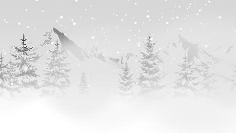 Christmas-trees-in-forest-around-mountains-and-white-snowflake