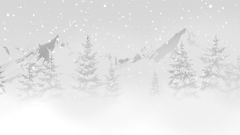 Christmas-trees-in-forest-around-mountains-and-white-snowflake-1