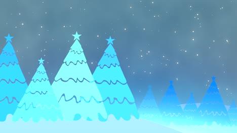 Weihnachtsbaum-Und-Weiße-Schneeflocken-Und-Sterne-Fallen