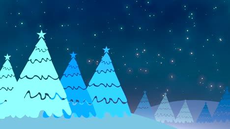 Weihnachtsbaum-Und-Weiße-Schneeflocken-Und-Sterne-Fallen-1