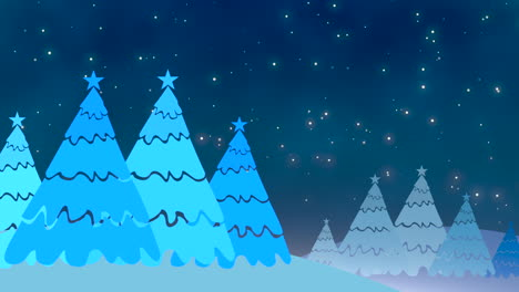 Christmas-tree-and-white-snowflakes-and-stars-falling-2