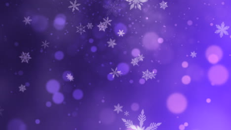 Abstract-purple-bokeh-and-snowflake-falling