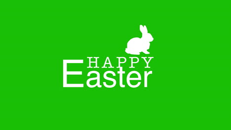 Happy-Easter-text-and-rabbit-on-green-background