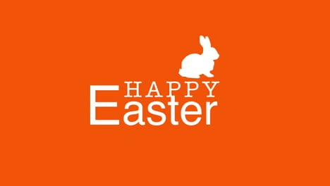Happy-Easter-text-and-rabbit-on-orange-background