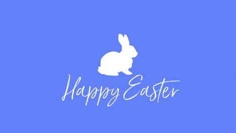 Happy-Easter-text-and-rabbit-on-blue-background