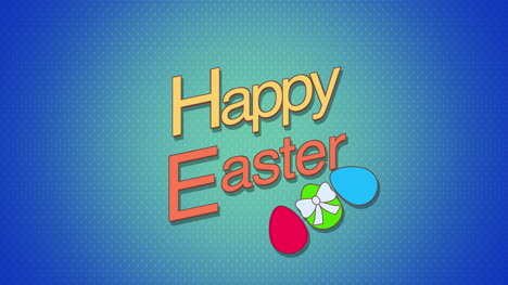 Happy-Easter-text-and-eggs-on-blue-background