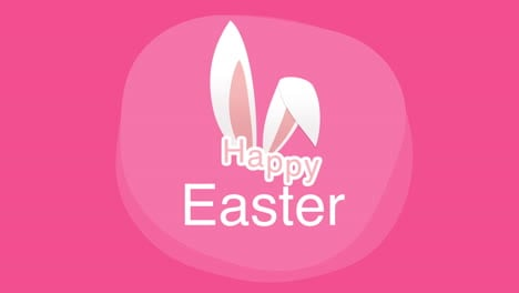Happy-Easter-text-and-rabbit-on-pink-background