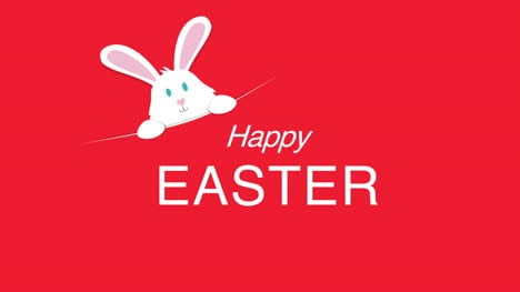 Happy-Easter-text-and-rabbit-on-red-background