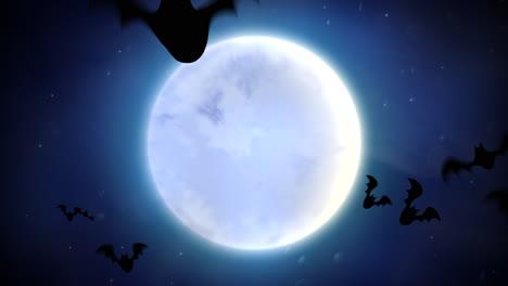 Halloween-Hintergrundanimation-Mit-Den-Fledermäusen-Und-Dem-Mond