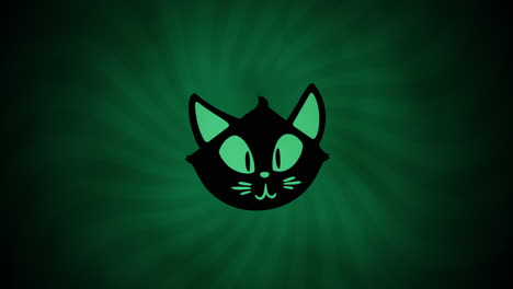 Halloween-animation-with-cat-on-green-background