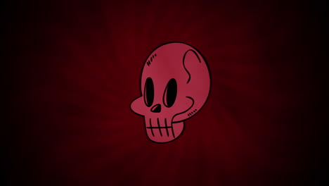 Halloween-animation-with-skull-on-red-background