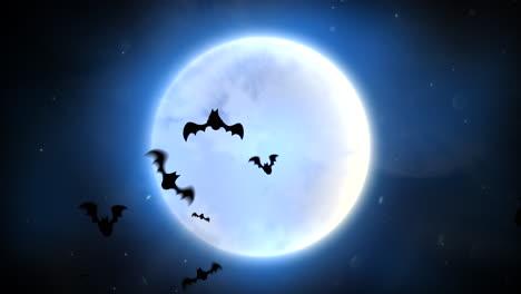 Halloween-Hintergrundanimation-Mit-Fledermäusen-Und-Mond