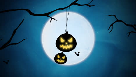 Halloween-background-animation-with-bats-and-pumpkins-on-trees