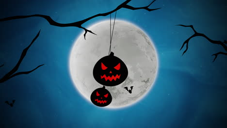 Halloween-background-animation-with-bats-and-pumpkins-on-trees-1