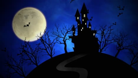 Halloween-background-animation-with-castle-and-moon-2