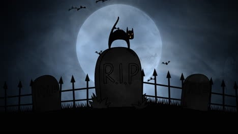 Halloween-background-animation-with-cat-on-grave