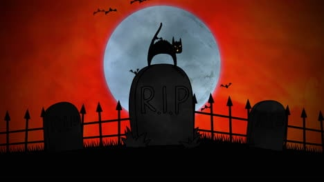 Halloween-background-animation-with-cat-on-grave-1