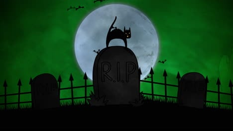 Halloween-background-animation-with-cat-on-grave-2