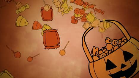 Animación-De-Fondo-De-Halloween-Con-Canasta-De-Dulces-De-Colores