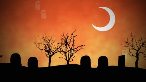 Halloween-background-animation-with-ghosts-in-cemetery