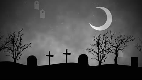 Animación-De-Fondo-De-Halloween-Con-Fantasmas-En-El-Cementerio-2