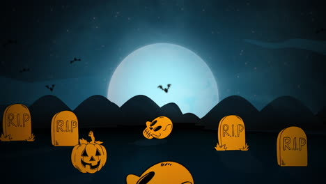 Halloween-background-animation-with-ghosts-and-bats-in-cemetery