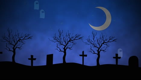 Halloween-background-animation-with-ghosts-in-cemetery-3