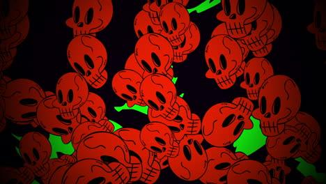 Animación-De-Fondo-De-Halloween-Con-Calaveras-Rojas
