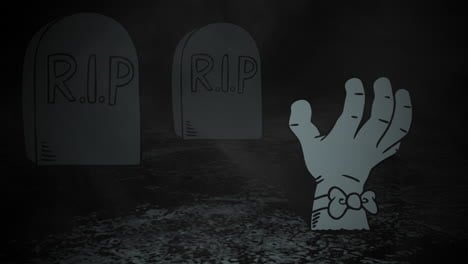 Halloween-background-animation-with-hand-in-cemetery