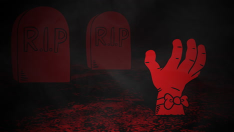 Halloween-background-animation-with-hand-in-cemetery-1